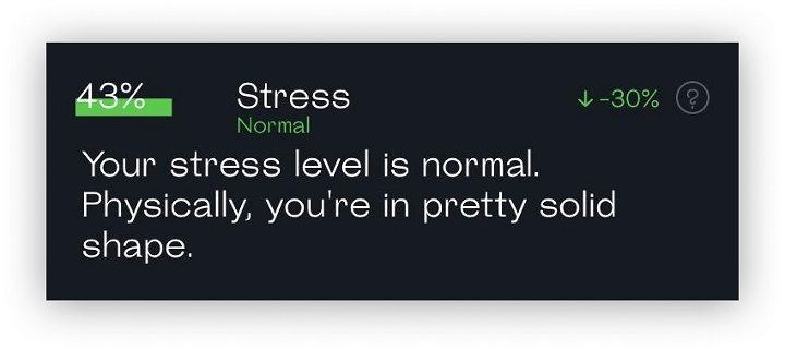 Stress level evaluation results with 43% score and a readout stating that stress level is normal
