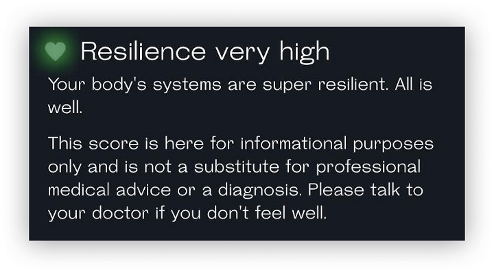Resilience evaluation results with a very high score and a readout saying body's systems are super resilient